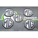 MGF MGFT Alloy wheel centre badge inserts + Air bag 5 off Black on Silver