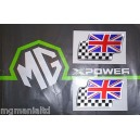 MGF MGTF Twin Flag Badges Silver Pair Brand New