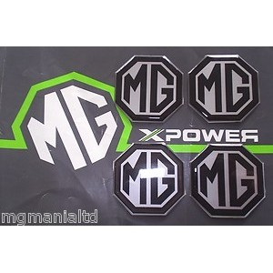 MG Alloy wheel centre badge inserts 4 off Black on Silver