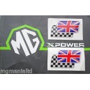 Twin Flag Badges (White) Pair Brand New