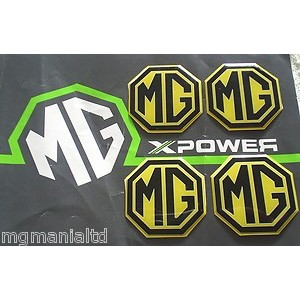 MG Alloy wheel centre badge inserts 4 off Yellow