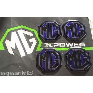 MG Alloy wheel centre badge inserts 4 off Pearlesant Blue