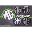 MGF MG F Alloy wheel centre badge inserts 4 off Black on Silver