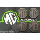 MG Alloy wheel centre badge inserts 4 off Carbon Silver