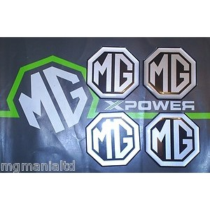 MG Alloy wheel centre cap badge inserts 4 off Silver on Black