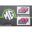 Twin Flag Badges (white) Pair Brand New