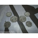 2x Front & Rear 4x centre Caps Silver Carbon Badge Inserts New