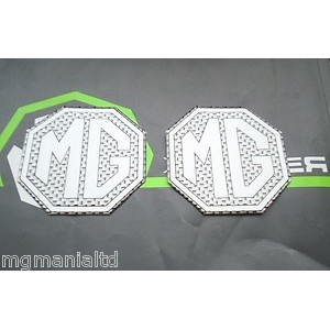 2x Front & Rear Silver Carbon Badge Inserts New