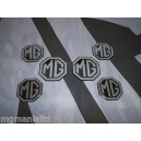MGZS MG ZS 2x Front & Rear 4x Centre Cap Silver on Black Badge Inserts New