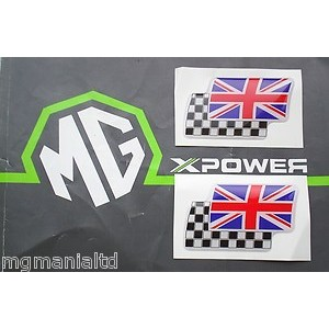 MGZS Large Twin Flag Badges (White) Pair Brand New