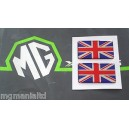 Union Jack x2 Stickers Red Chrome & Blue